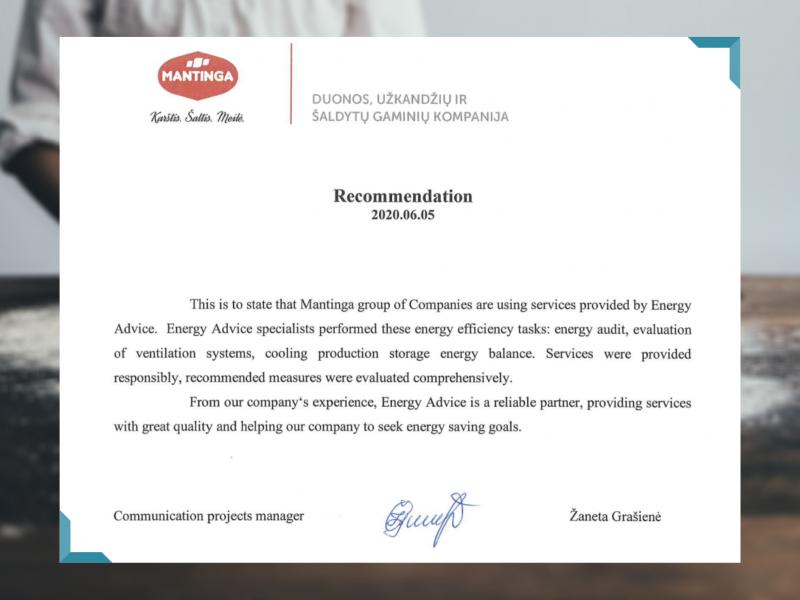 Energetinio efektyvumo didinimas UAB Mantinga